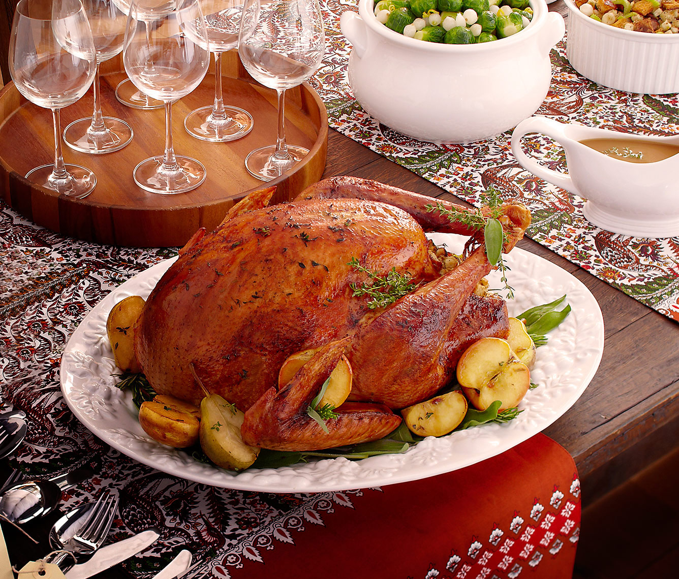 Turkey Dinner. Turkey, gravy, brussel sprouts and stuffing. Wine. Dinner Party.