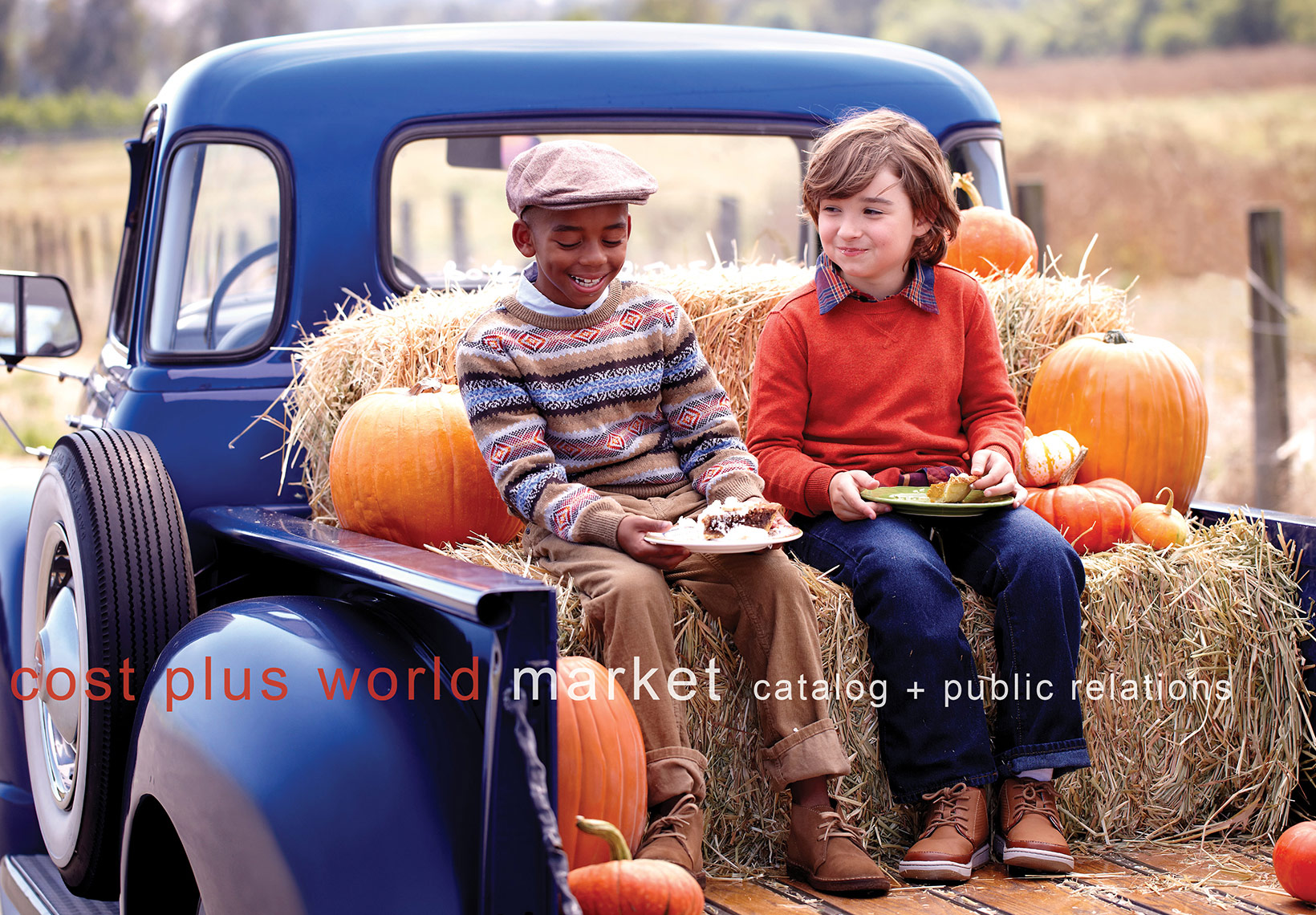 Kids in Pickup Truck Eating Pie