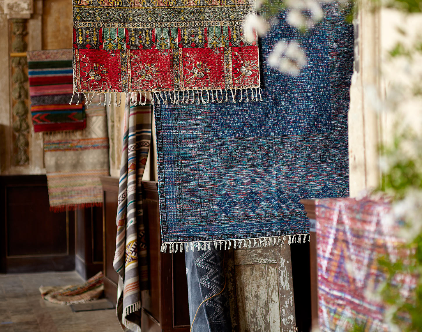 Hanging rugs in market