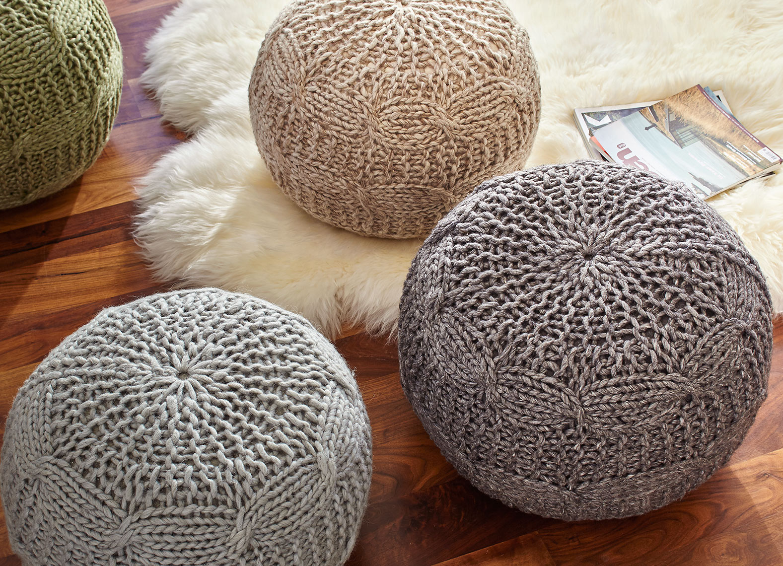 Poufs on floor